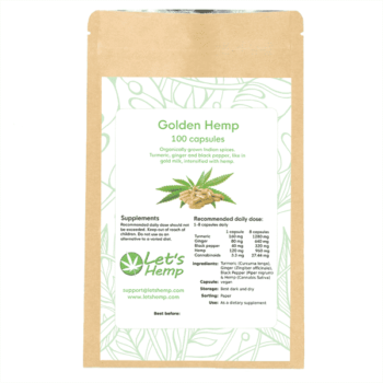 Golden Hemp 100 st kapslar, 300 mg Cannabinoider